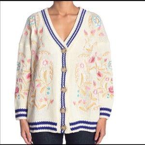 ARATTA Designer Tomboy Floral Sweater Cardigan